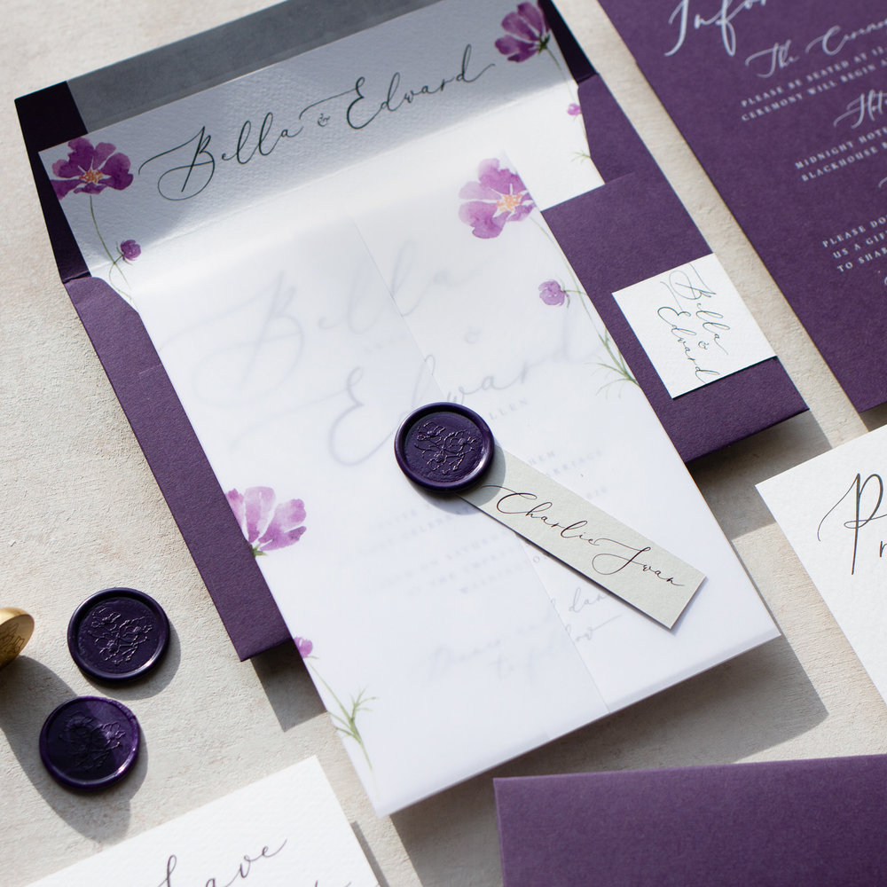 Amethyst Eclipse Purple Wedding Invitation with Vellum Wrap and Wax Seal Details  - www.pinglepie.com.jpg