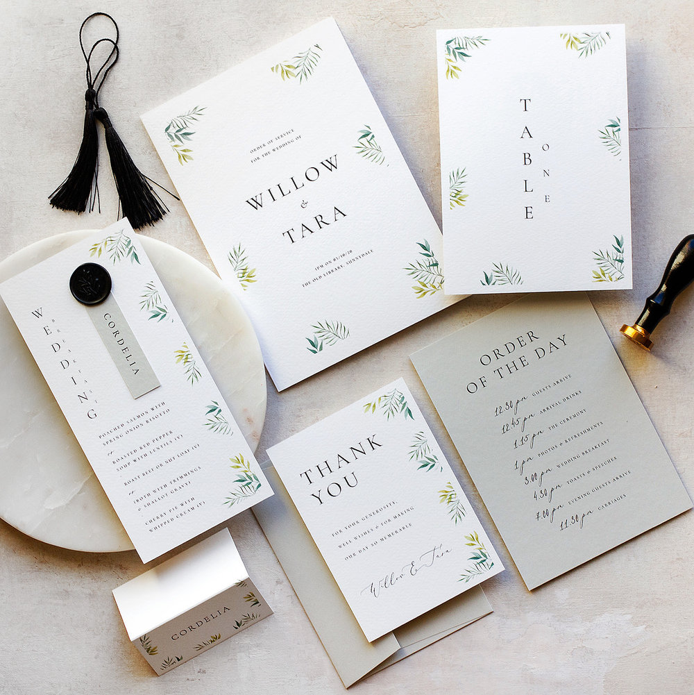 Minimal Botanical Luxury Fine Art Wedding Stationery, On the Day Wedding Stationery  - www.pinglepie.com.jpg