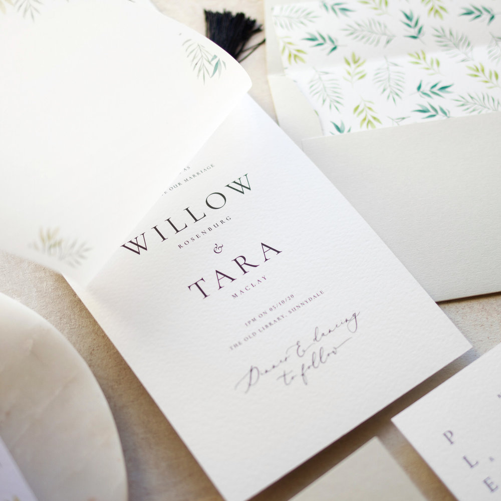 Minimal Botanical Wedding Invitation with Vellum Layer and Hand Painted Envelope Liner - www.pinglepie.com.jpg