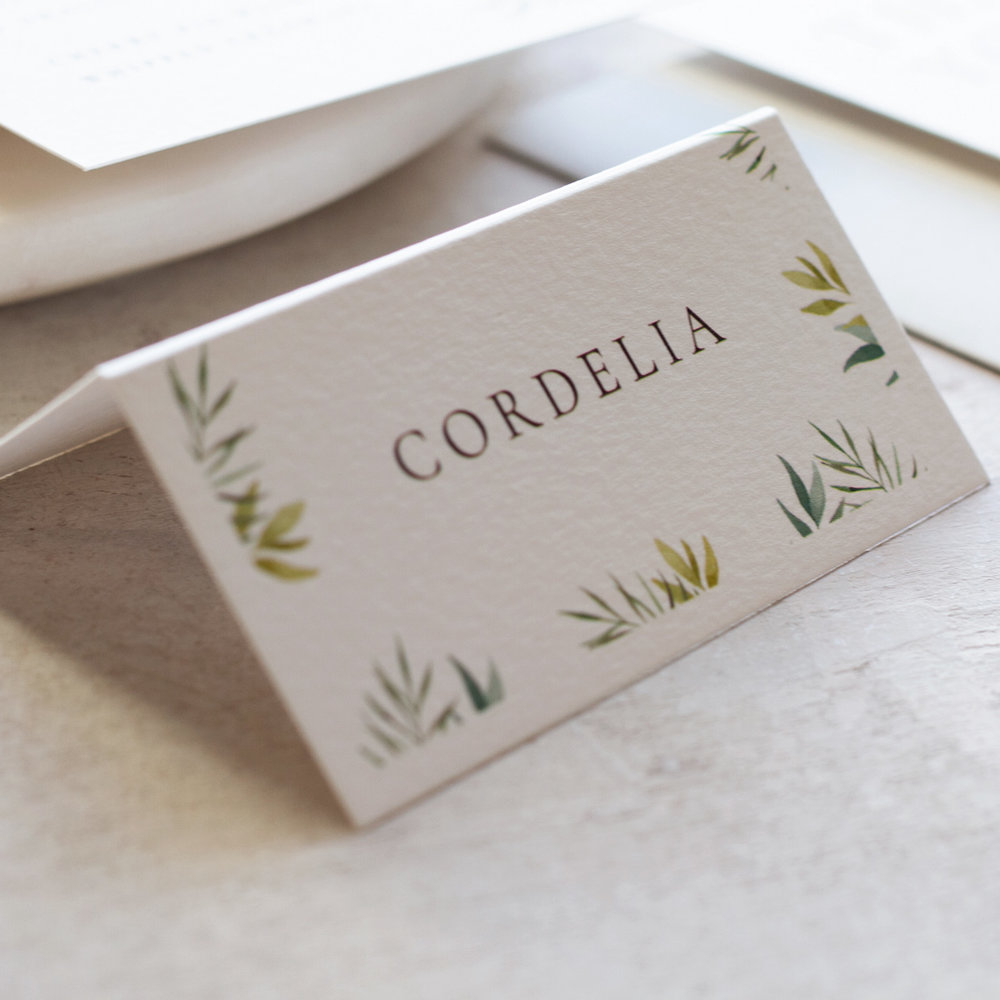 Minimal Botanical Minimal Wedding Place Card with Hand Painted Watercolour Details  - www.pinglepie.com.jpg