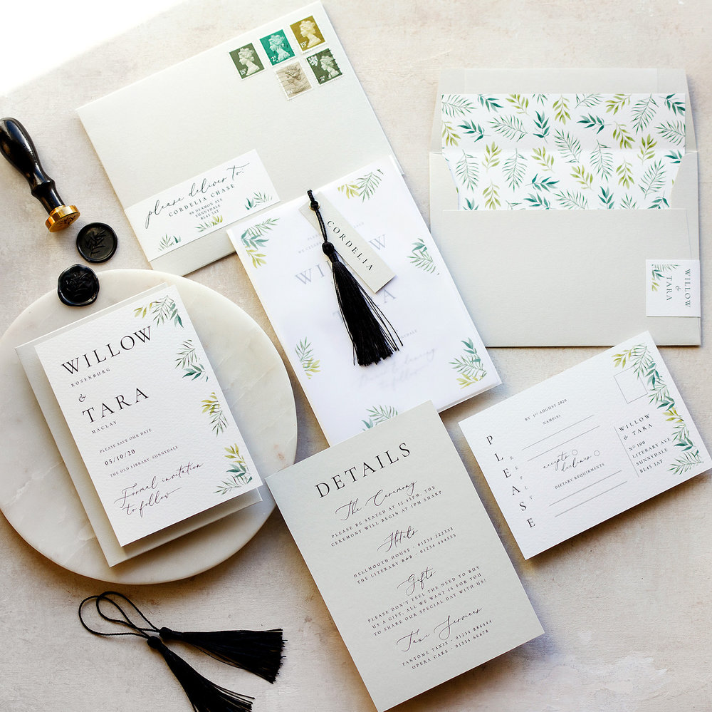 Minimal Botanical Luxury Watercolour Stationery with Black Wax Seal and Tassel  - www.pinglepie.com copy.jpg