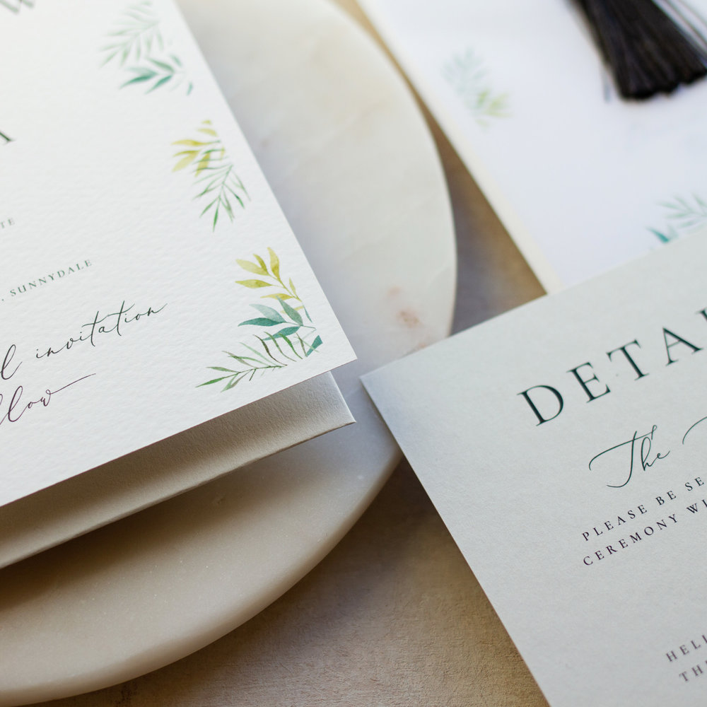 Minimal Botanical Luxury Fine Art Wedding Stationery with Watercolour Details - www.pinglepie.com.jpg