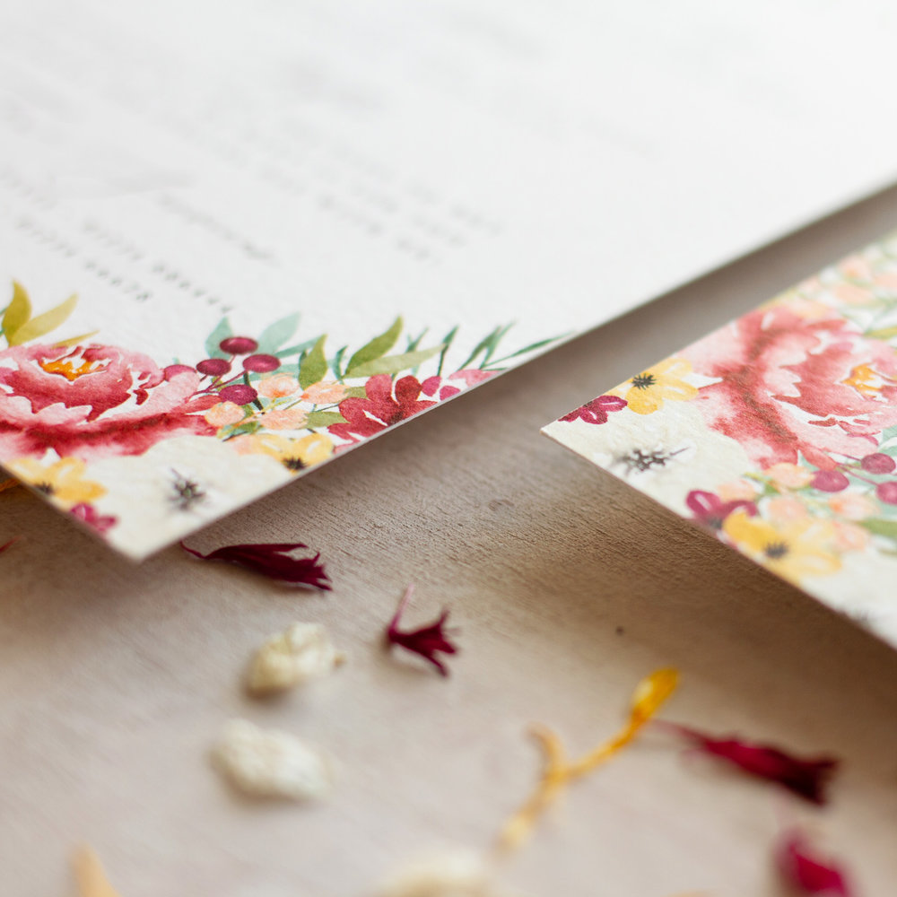 Autumn Leaves Hand Painted Fine Art Wedding Stationery with Watercolour Flowers - www.pinglepie.com.jpg