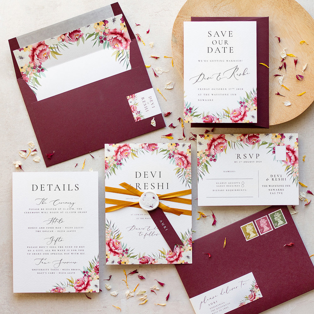 Autumn Leaves Burgundy Marsala Wedding Stationery with Luxury Silk Ribbon and Wax Seal - www.pinglepie.com.jpg