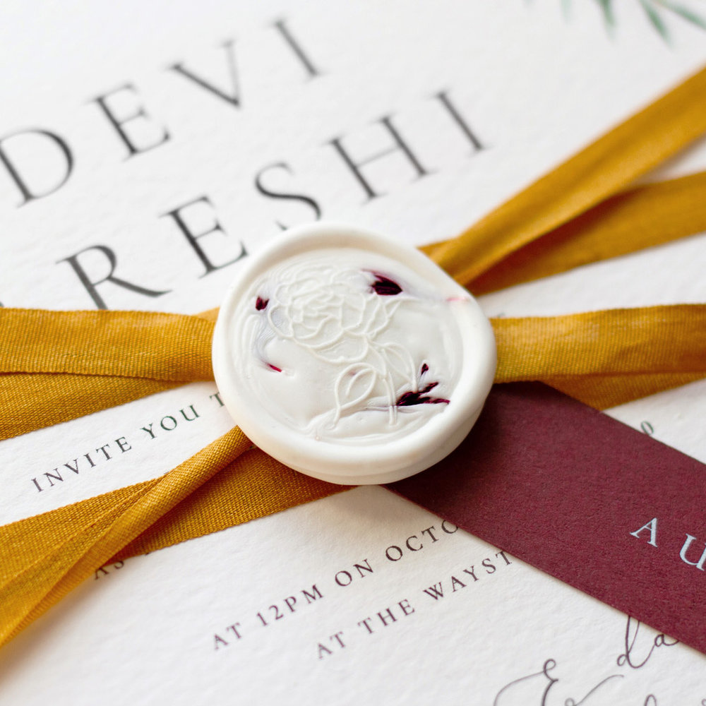 Autumn Leaves Wax Seal with Petals, Luxury Fine Art Wedding Stationery1 - www.pinglepie.com.jpg