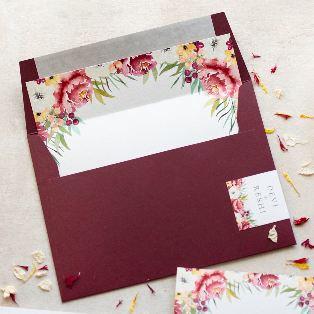 Autumn Leaves Unique Wedding Invitation Envelope Desgin - www.pinglepie.com.jpg