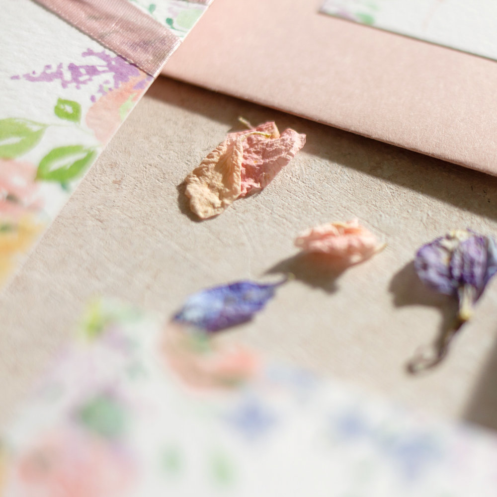 Spring Heath Blush Pink Petals Unique Wedding Invites  - www.pinglepie.com.jpg