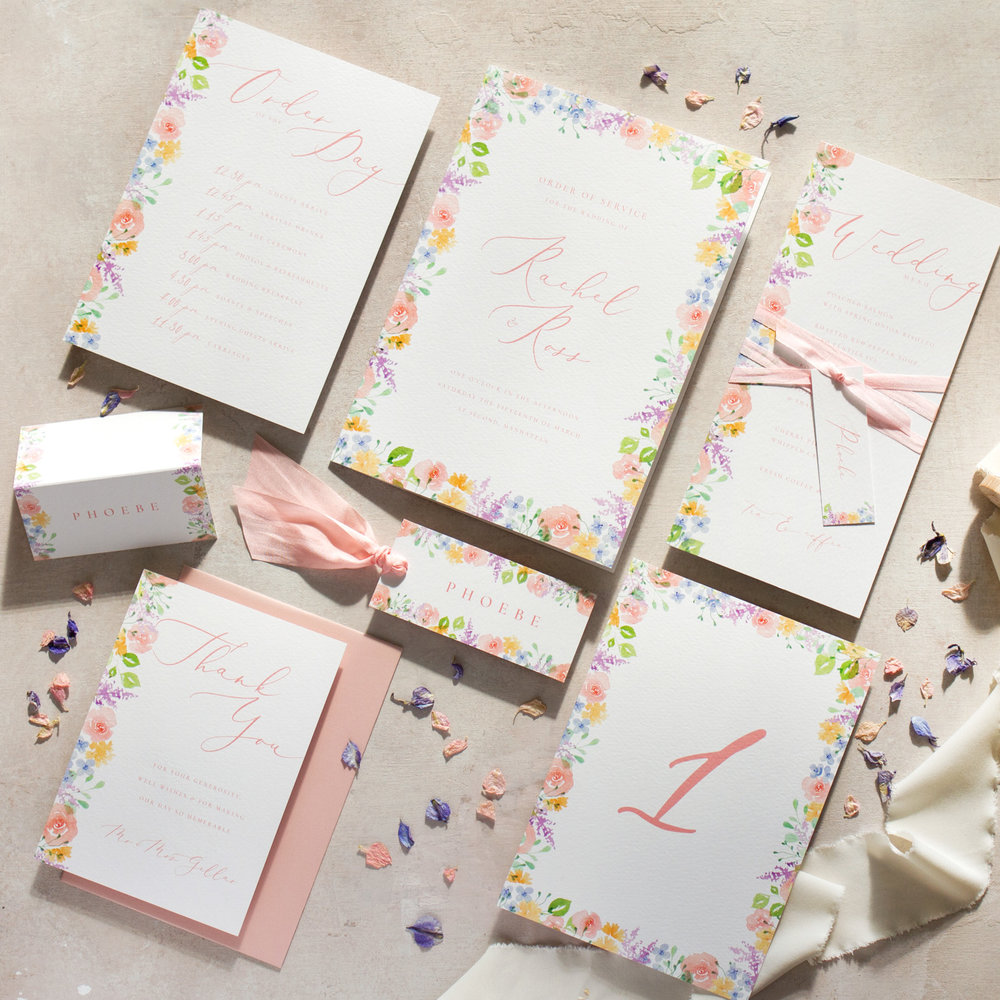 Spring Heath Hand Painted Pastel Flowers On the Day Wedding Stationery with Luxury Silk Ribbon  - www.pinglepie.com.jpg