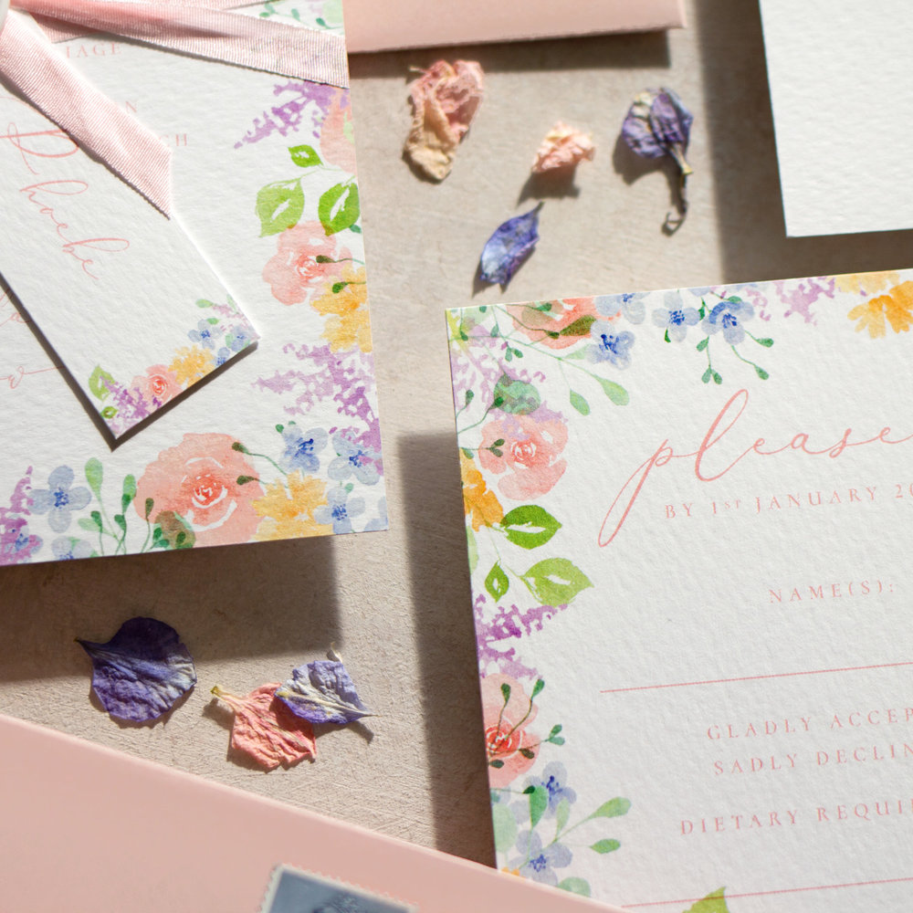 Spring Heath Spring Themed Wedding Stationery with Watercolour Pastel Flowers.jpg