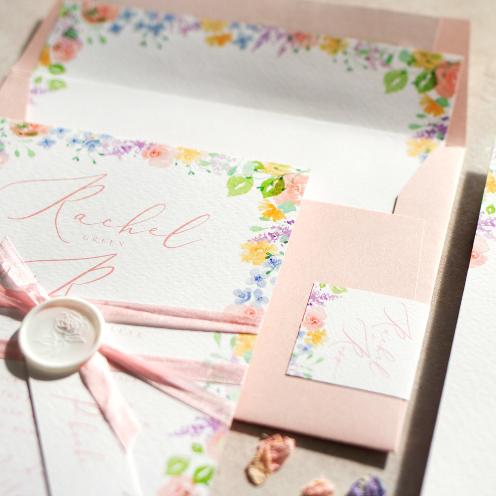 Spring Heath Luxury Fine Art Wedding Stationery with Pastel Flowers and Wax Seal Details  - www.pinglepie.com.jpg