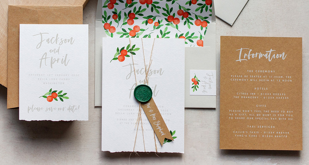 Illustrated Watercolour Oranges Wedding Invitation and Stationery.jpg