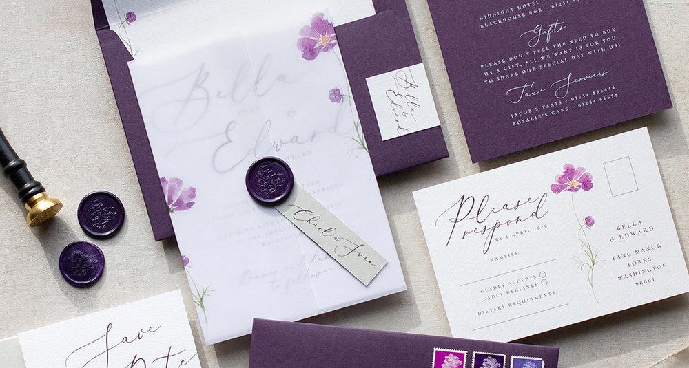 Purple Flower Wedding Invitation and Stationery.jpg
