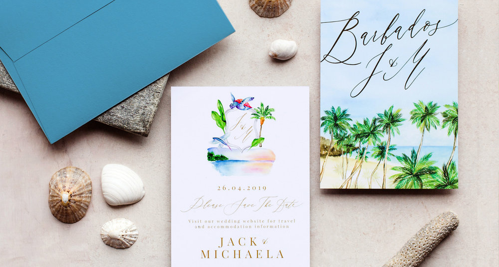 Tropical Barbados Wedding Invitation with Palm Trees and Digital Foil.jpg