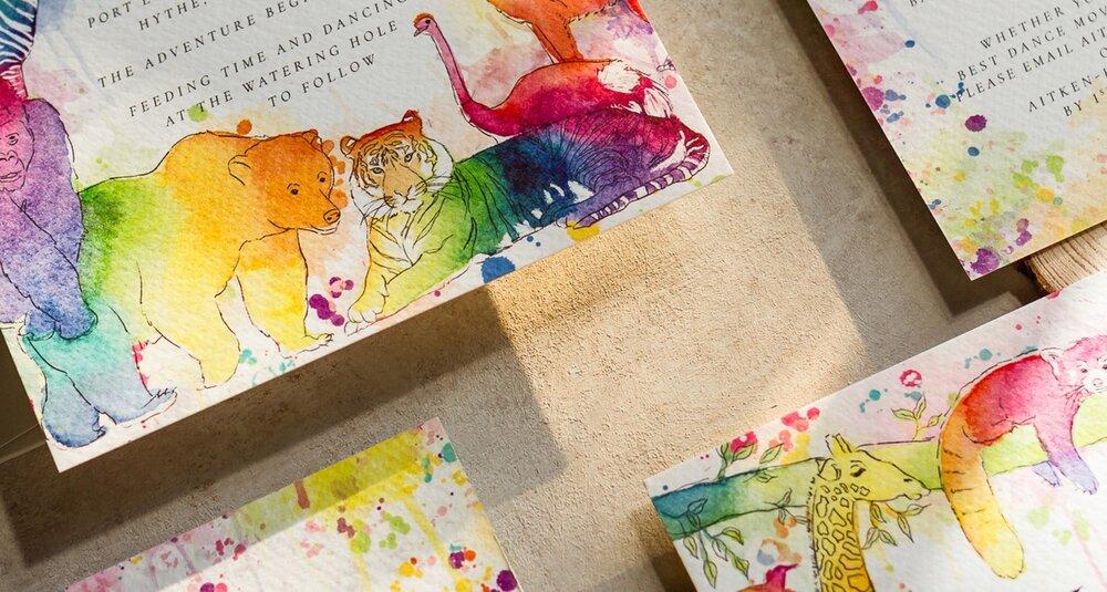 Bright Rainbow Zoo Wedding Invitations.jpg