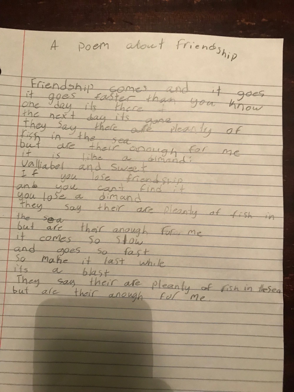 The other day... - My sister sent me a picture of a poem my 9 year old niece, Sienna, wrote. It is aptly entitled