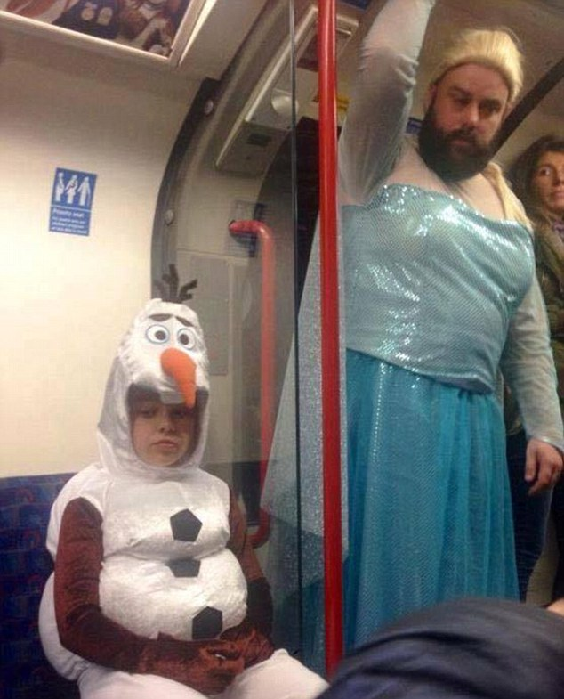 Rob Chillingworth was snapped riding the tube with his daughter Ruby, who was dressed as snowman Olaf, on the way to the party.