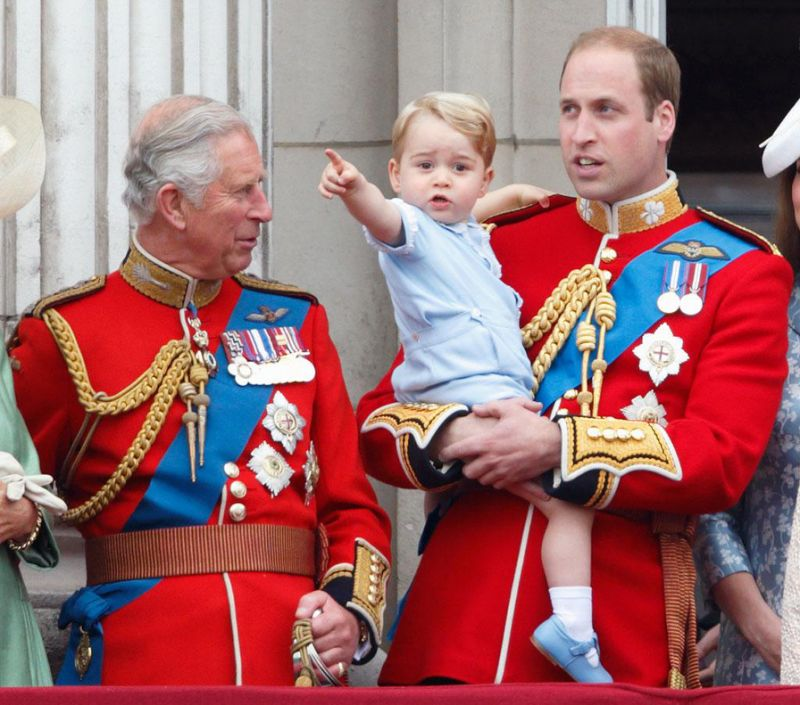 George with his grandfather, Prince Charles, and dad William. (Image: GettyImages)