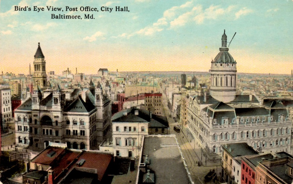 "A Turn of the Century ""Bird's Eye View"" of Baltimore City -- the now-razed Post Office (left) and extant City Hall (right)"