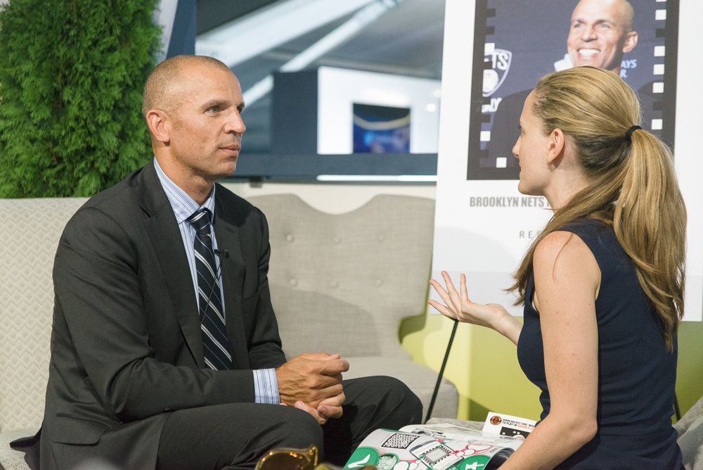 Orchard's Founder, Christina Daigneault, preparing NBA star Jason Kidd for a media spotlight at Mercedes-Benz Fashion Week in New York.