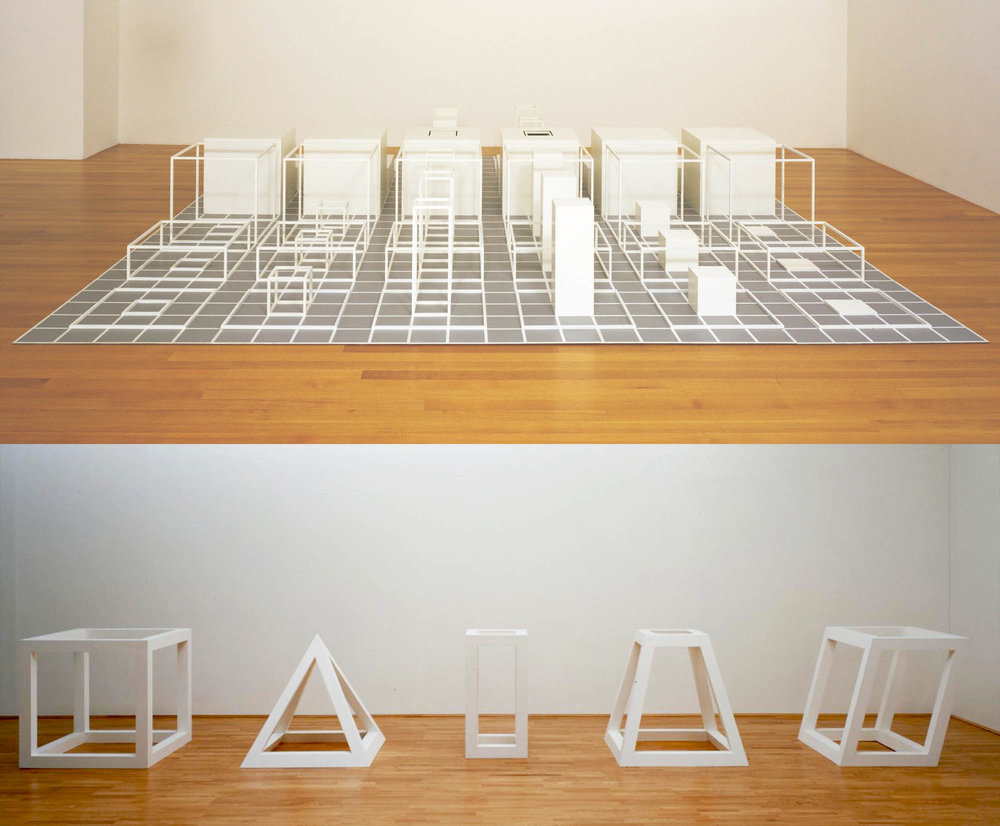 Top: Sol LeWitt,  Serial Project, I (ABCD)  (Image credit: MoMA)  Bottom: Sol LeWitt,  Five Open Geometric Structures  (Image credit: Tate)