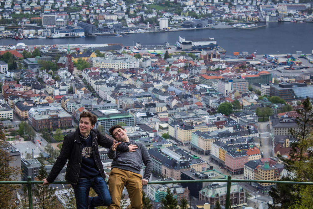 Cat love: pushing each other down fjords (Bergen, Norway)