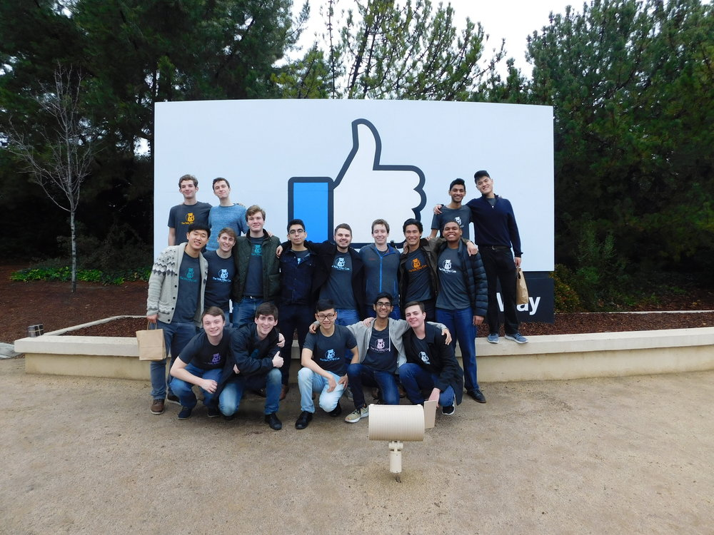 Group photo outside Facebook