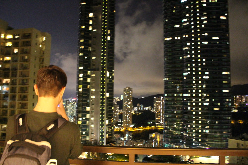 Mark ('20) takes in the view from our apartment on our first night in Hong Kong