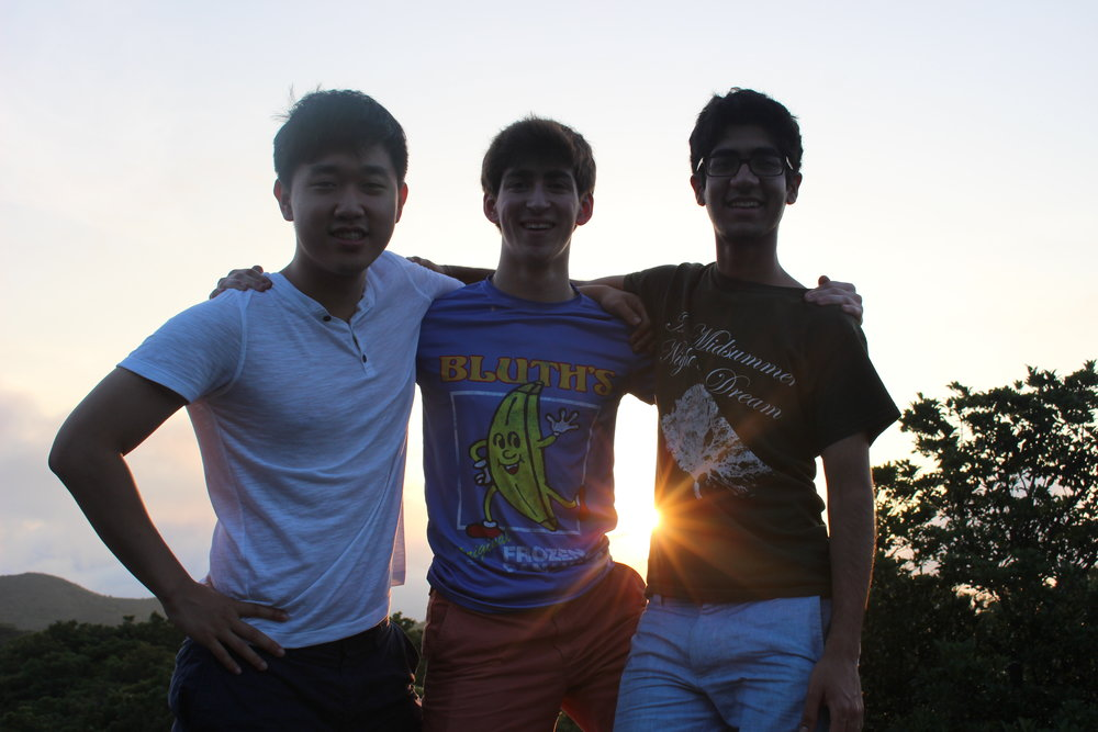Our three Summer Tour managers: Arthur Hwang ('20), Jacob Clemente ('19), and Mohit Sani ('19)