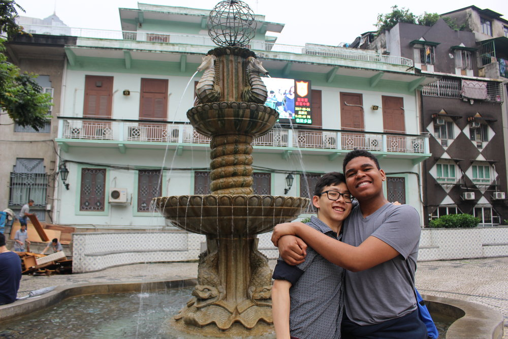 Tyler ('20) and Dustin ('19) sharing a moment in a Macau square