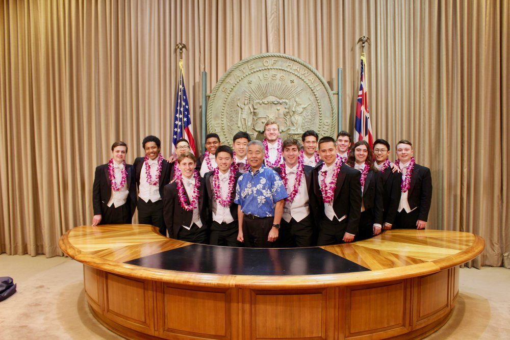 "Performing for the Governor of Hawaii on State ""Yale Alley Cats Day""!"