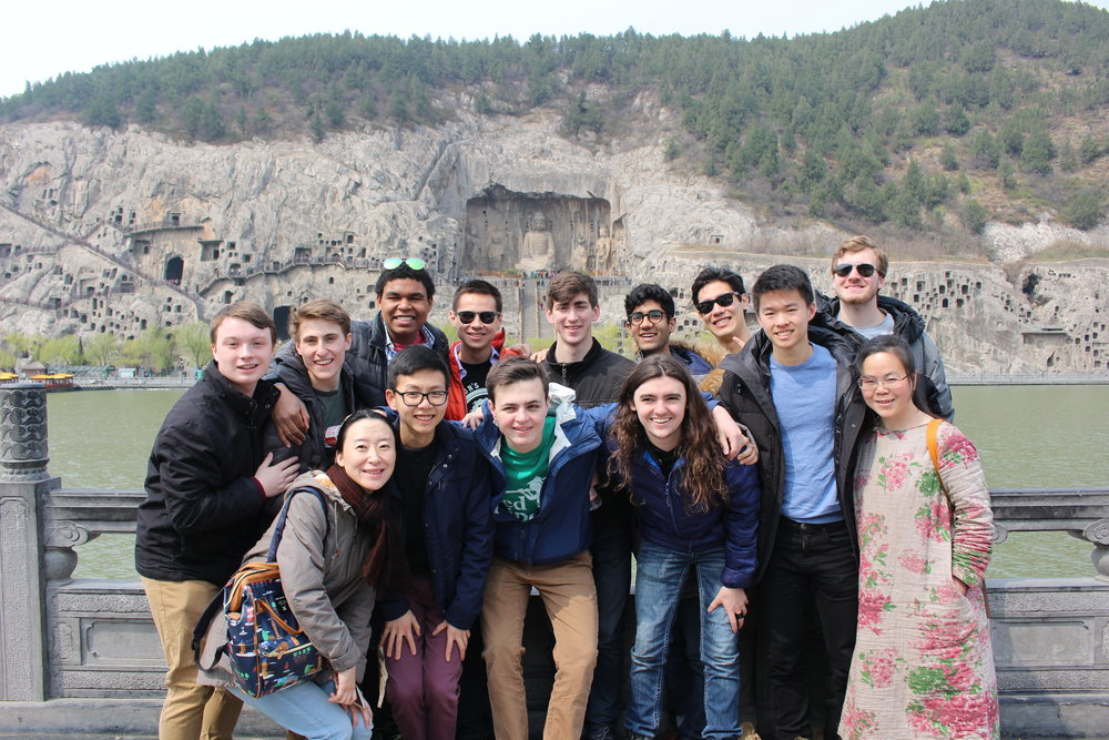 Photo with our guides at the Longmen Grotto in Luoyang