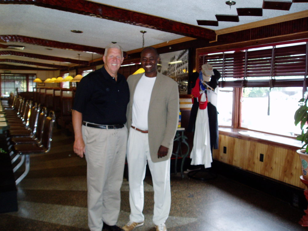 Bill and I  posing after a 2011 interview session at a restaurant in Saratoga Springs, NY. We sometimes met at Bill's home in the small, upstate city known for its horse racing, but through late 2014, the Q&As also occurred in locales as disparate as Florida and New Jersey.