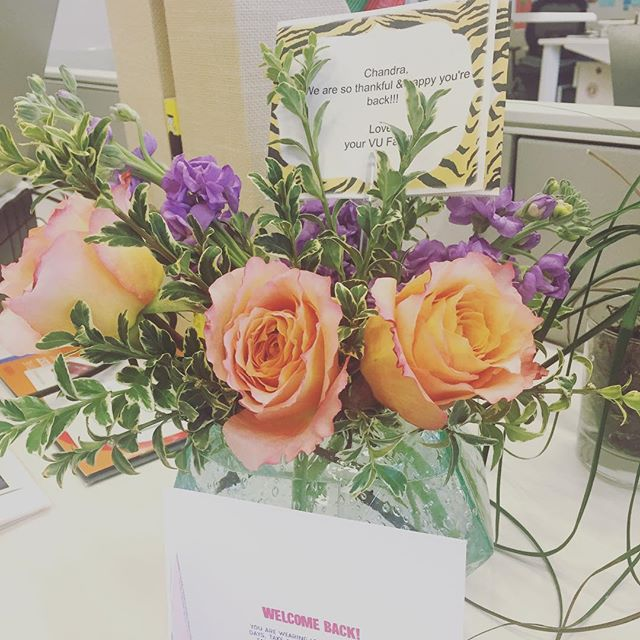 The end of maternity leave is bittersweet, but my team made coming back to work so easy. Special thanks to @lauren__arey for these lovely flowers!💜#vurocks
