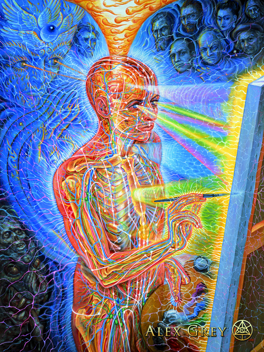 """Painting,"" Alex Grey, 1998, oil on linen, 30 x 40 inches"