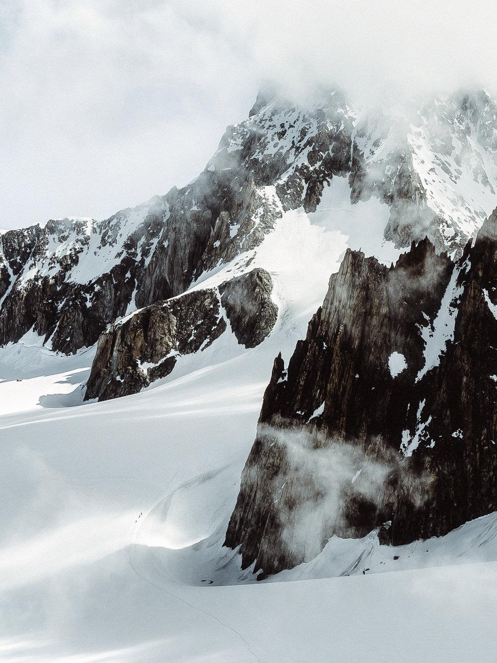 Mont Blanc. 85mm lens. Spot the hikers?
