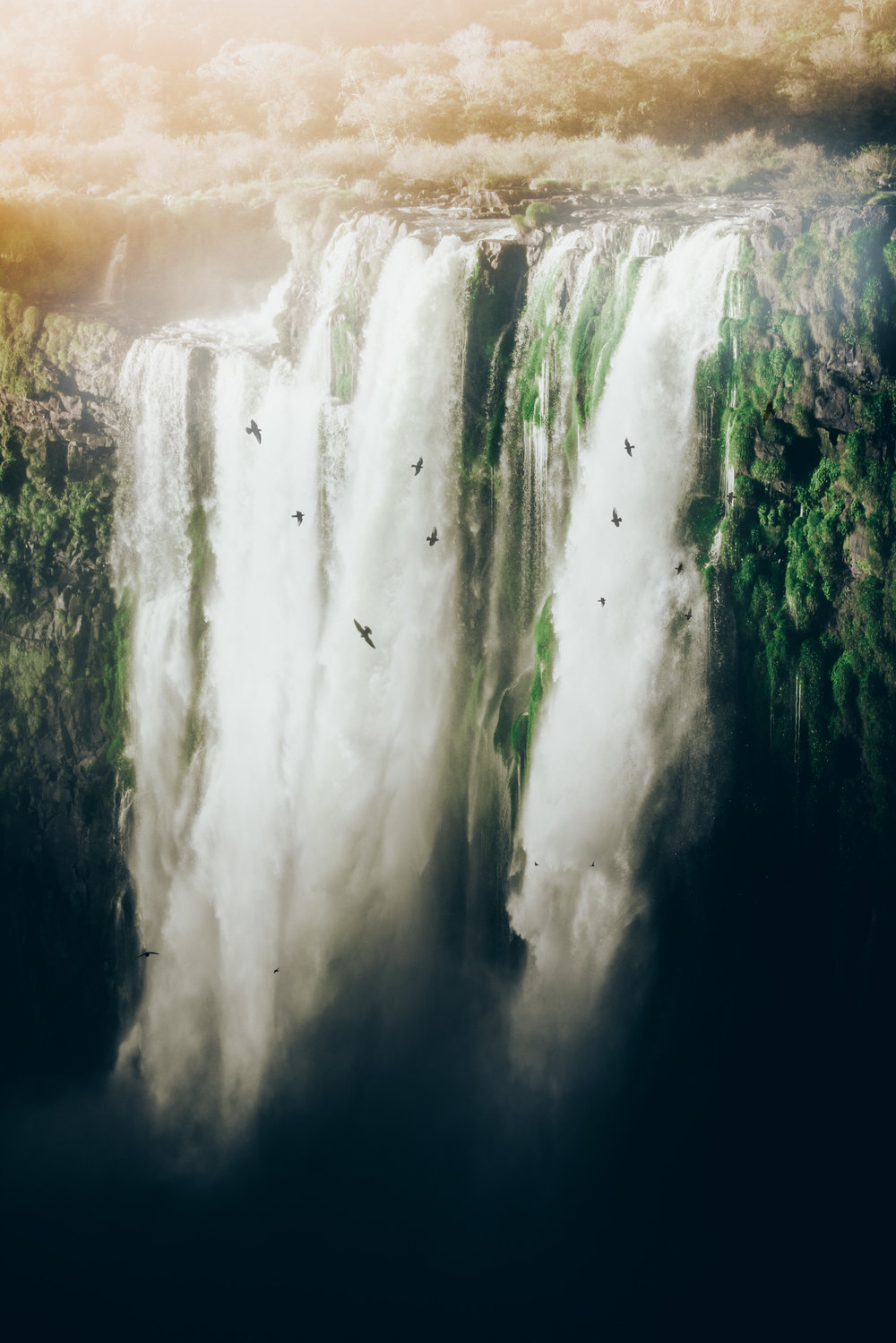 Iguazu Falls, Argentina. 70mm lens. Without birds, this image would appear relatively flat. They emphasize the height of this incredible waterfall.