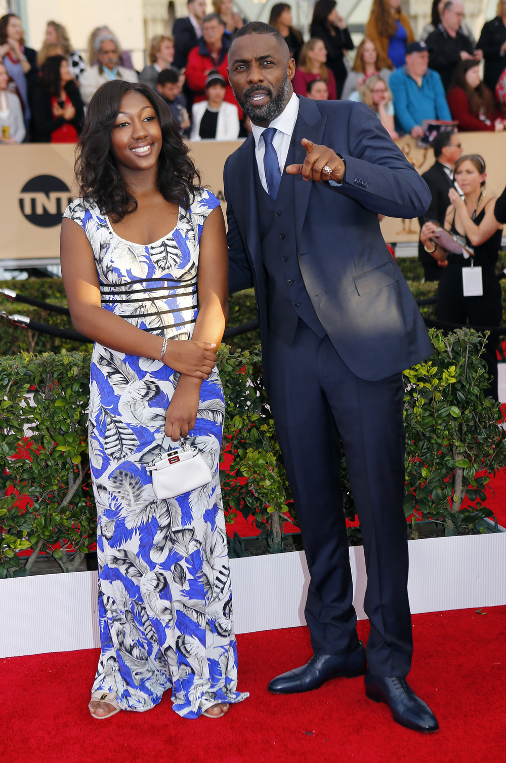 Father & Daughter moment at the 22nd annual SAG Awards 2016. Nails for ISan Elba.