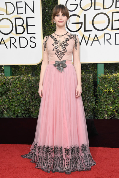 Felicity Jones at the 2017 Golden Globe Awards red carpet