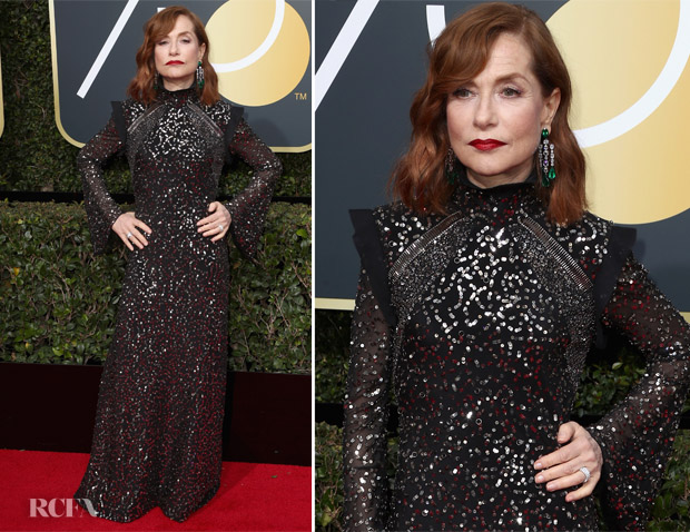 Isabelle Huppert at the 2018 Golden Globe Awards