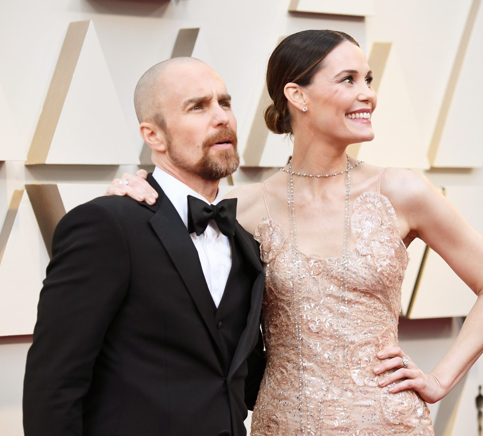 Leslie Bibb and Sam Rockwell at the 2019 Oscars