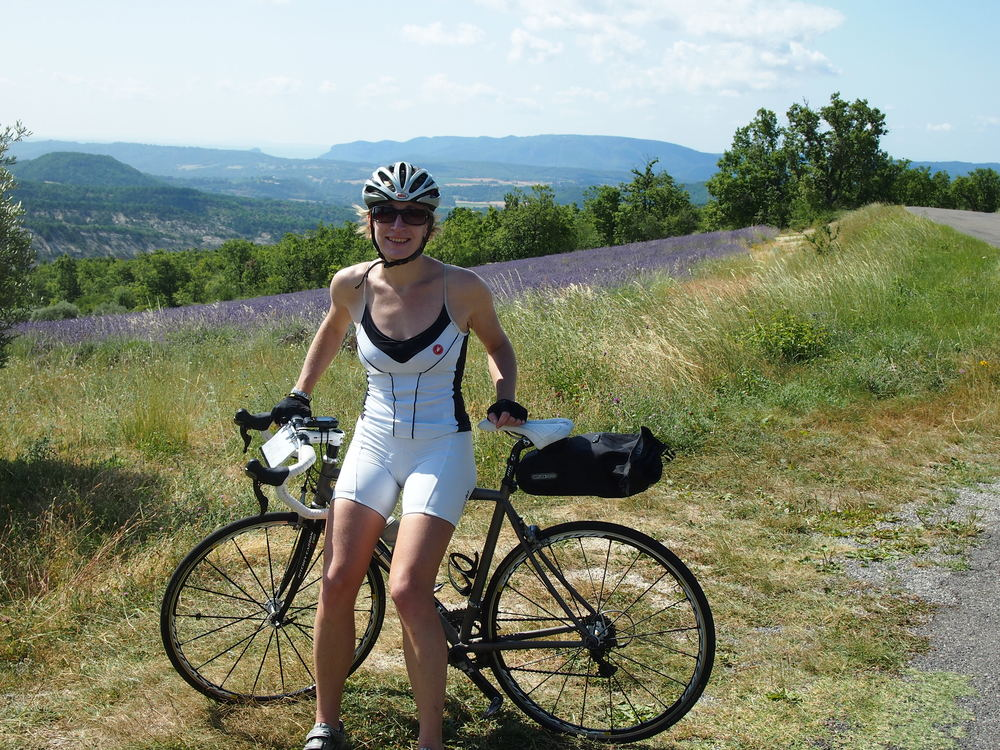 Clare Holdsworth, Director Wide Open Road Cycling Tours, exploring  Provence for our Nice-Alps ride.