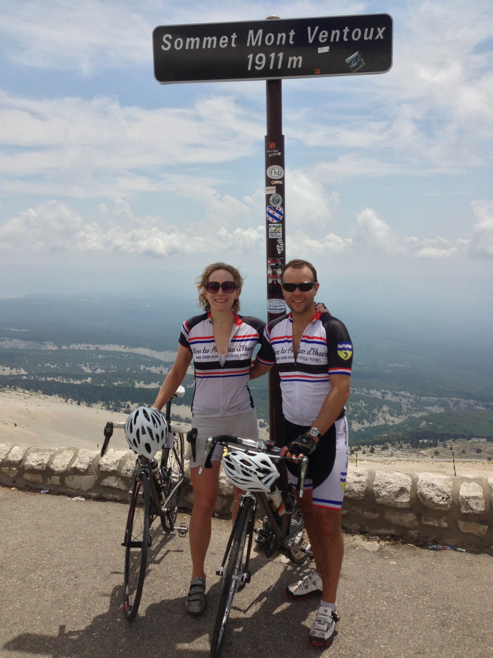 A hot and sweaty Clare with crew member Paul on her most recent ascent of Mt Ventoux as pat of Wide Open Road's Nice to Alpe d'Huez cycling holiday in 2013.