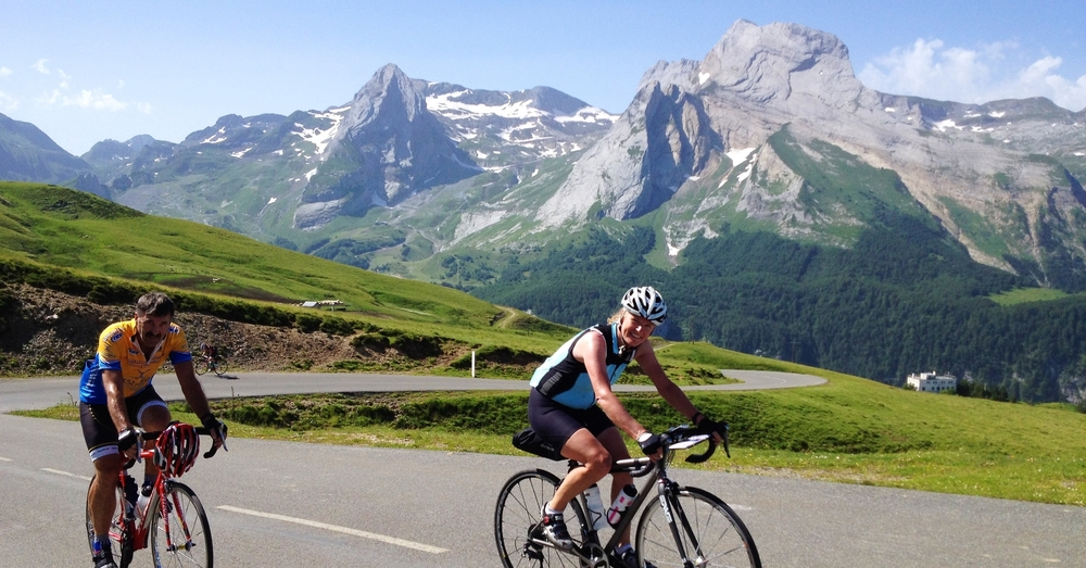 Climbing the spectacular Col d'Aubisque on Day 4