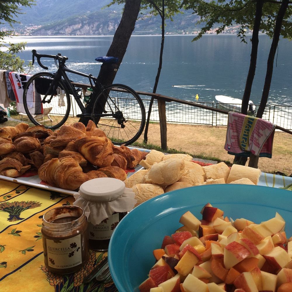 Breakfast at our campground on the shores of Lago di Como