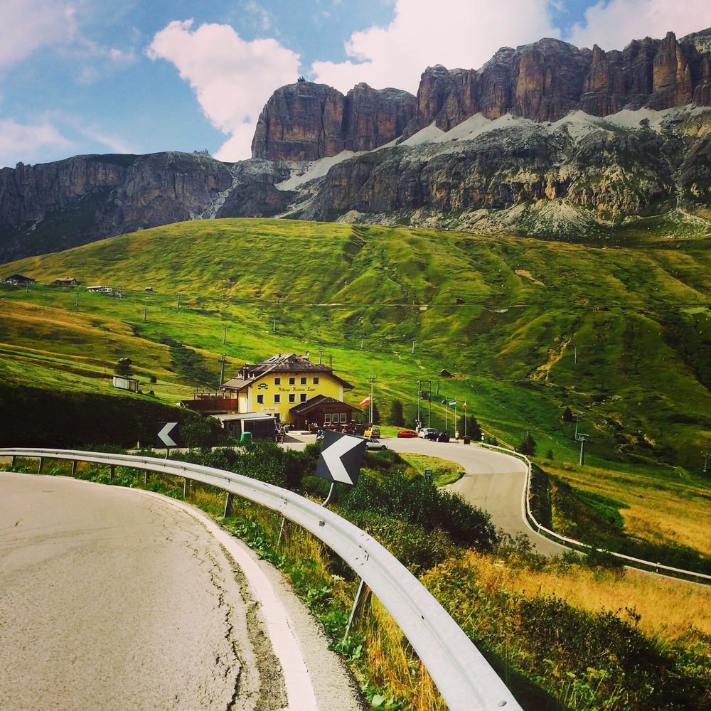 Descending the Passo Pordoi in the Dolomites