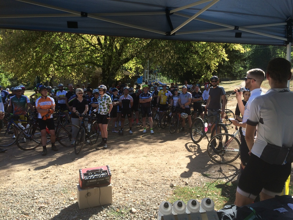 Andy briefing the cyclists before the start of the ride