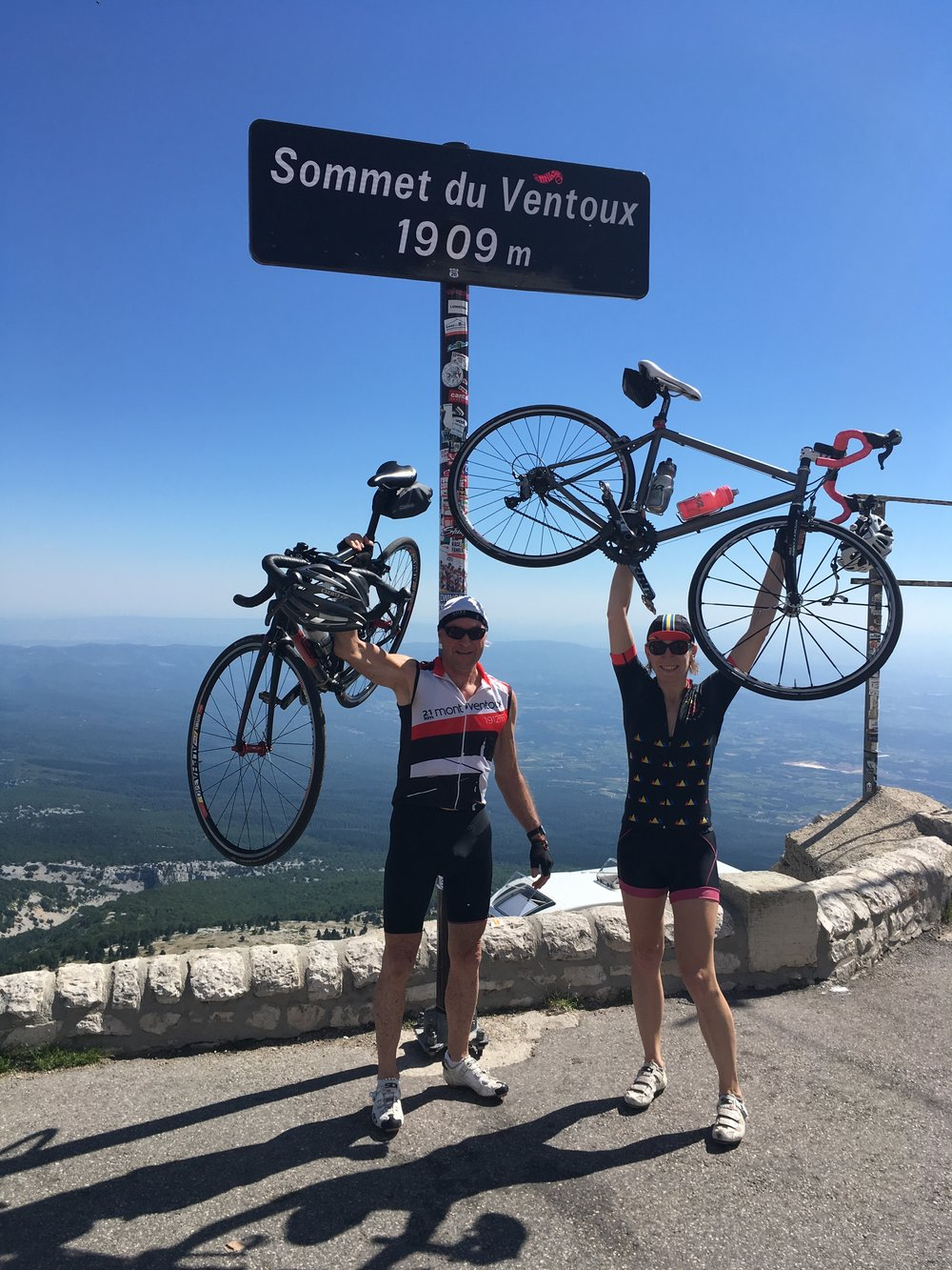 Clare with a WOR Regular, Frank, conquering Ventoux for the 9th time in July 2017