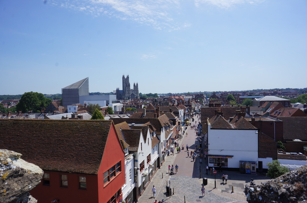 Canterbury Cathedral and Marlowe Theatre from the Westgate Towers