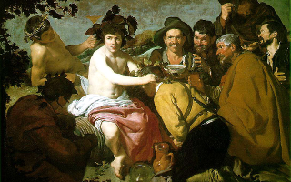 "Diego Velazquez, The Triumph of Bacchus, 1628, is more commonly known as Los Borrachos, or ""The Drunks""."