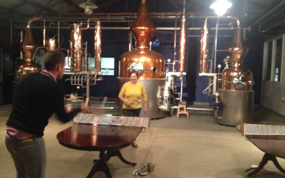 Table tennis and tippling with the Sipsmith stills, Prudence on the left, Patience on the right and Constance in between